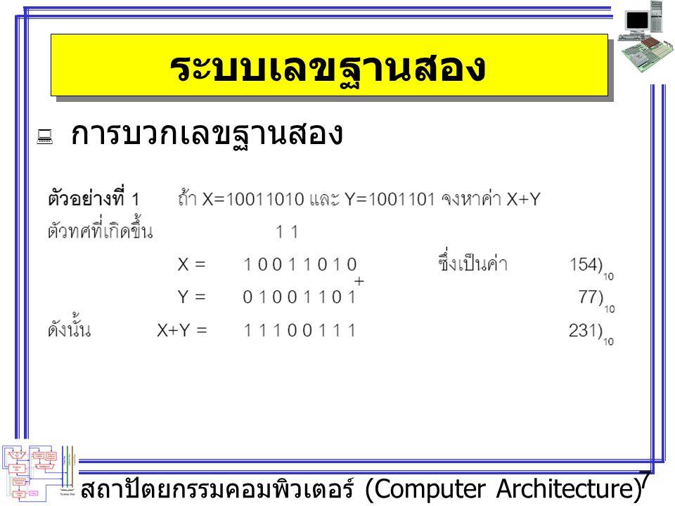 สถาปัตยกรรมคอมพิวเตอร์ (Computer Architecture) 7 ระบบเลขฐานสอง  การบวกเลขฐานสอง