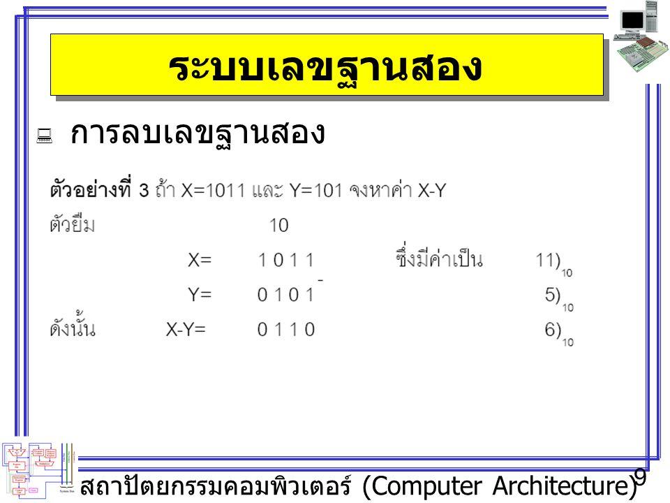 สถาปัตยกรรมคอมพิวเตอร์ (Computer Architecture) 9 ระบบเลขฐานสอง  การลบเลขฐานสอง