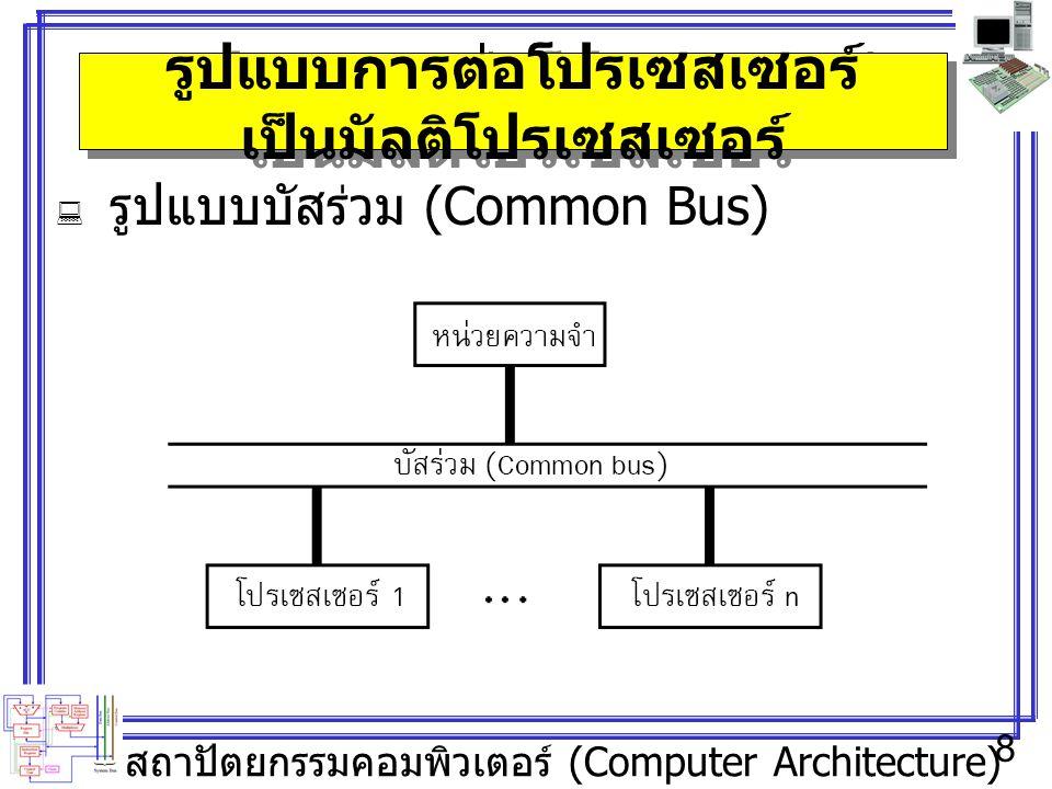 สถาปัตยกรรมคอมพิวเตอร์ (Computer Architecture) 8 รูปแบบการต่อโปรเซสเซอร์ เป็นมัลติโปรเซสเซอร์  รูปแบบบัสร่วม (Common Bus)