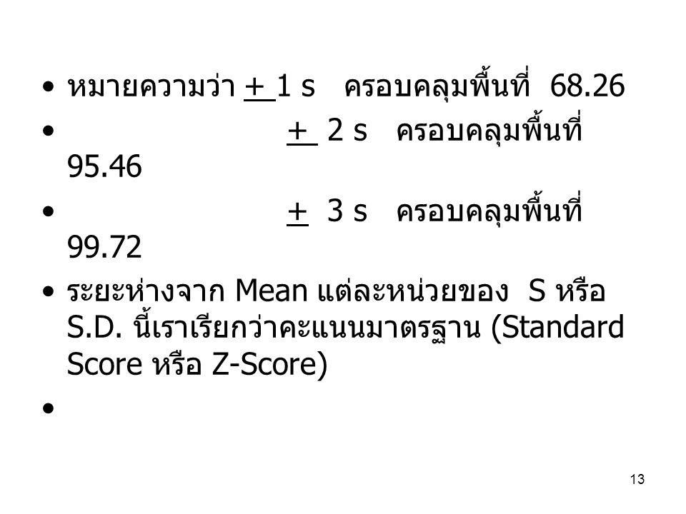 13 หมายความว่า + 1 s ครอบคลุมพื้นที่ 68.26 + 2 s ครอบคลุมพื้นที่ 95.46 + 3 s ครอบคลุมพื้นที่ 99.72 ระยะห่างจาก Mean แต่ละหน่วยของ S หรือ S.D.