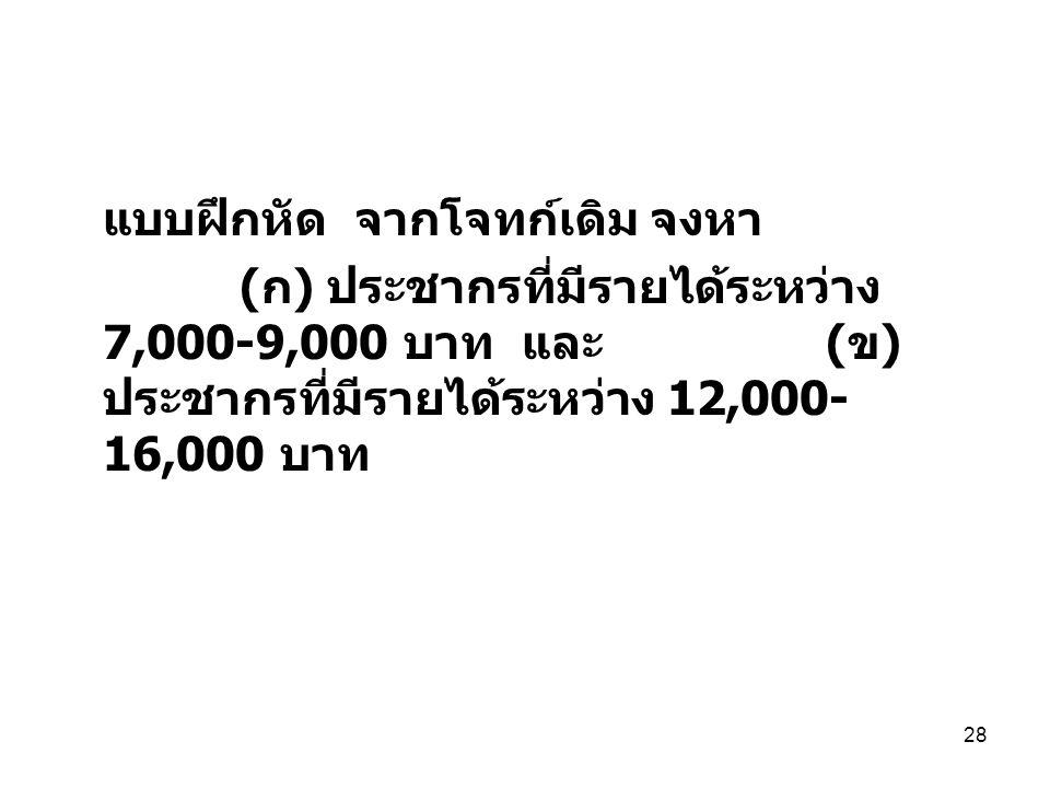 28 แบบฝึกหัด จากโจทก์เดิม จงหา ( ก ) ประชากรที่มีรายได้ระหว่าง 7,000-9,000 บาท และ ( ข ) ประชากรที่มีรายได้ระหว่าง 12,000- 16,000 บาท