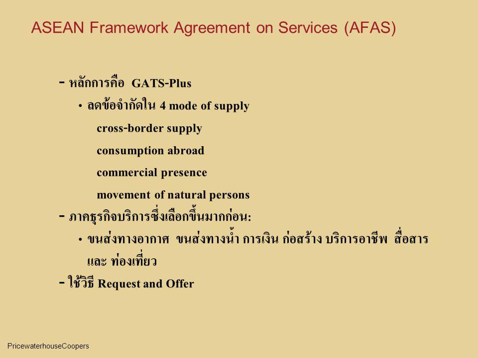 PricewaterhouseCoopers ASEAN Framework Agreement on Services (AFAS) - หลักการคือ GATS-Plus ลดข้อจำกัดใน 4 mode of supply cross-border supply consumption abroad commercial presence movement of natural persons - ภาคธุรกิจบริการซึ่งเลือกขึ้นมากก่อน: ขนส่งทางอากาศ ขนส่งทางน้ำ การเงิน ก่อสร้าง บริการอาชีพ สื่อสาร และ ท่องเที่ยว - ใช้วิธี Request and Offer