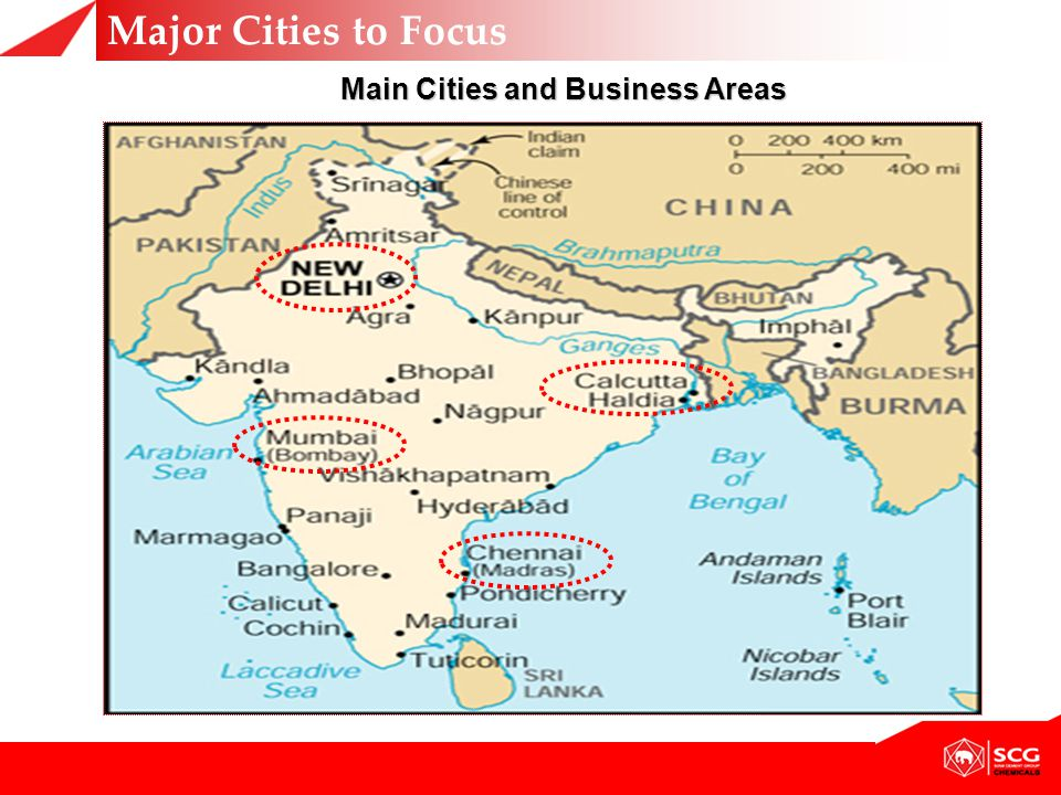 Main Cities and Business Areas Major Cities to Focus