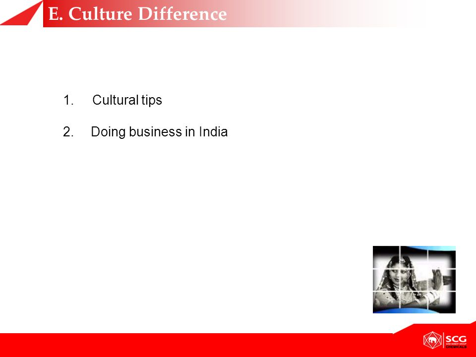 1. Cultural tips 2.Doing business in India E. Culture Difference