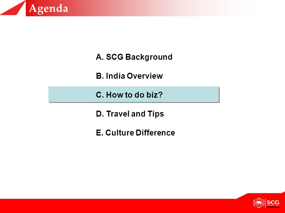 Agenda A.SCG Background B. India Overview C. How to do biz.