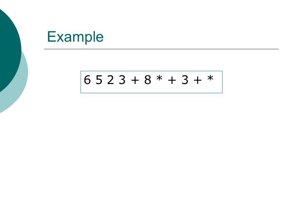 Example 6 5 2 3 + 8 * + 3 + *