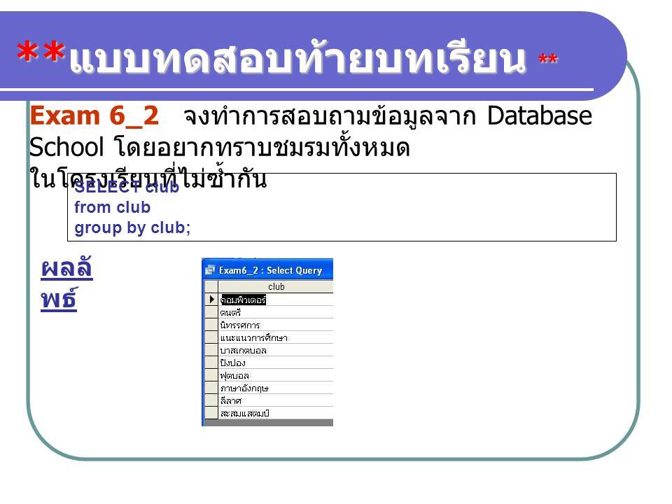 ** แบบทดสอบท้ายบทเรียน ** Exam 6_2 จงทำการสอบถามข้อมูลจาก Database School โดยอยากทราบชมรมทั้งหมด ในโครงเรียนที่ไม่ซ้ำกัน SELECT club from club group b