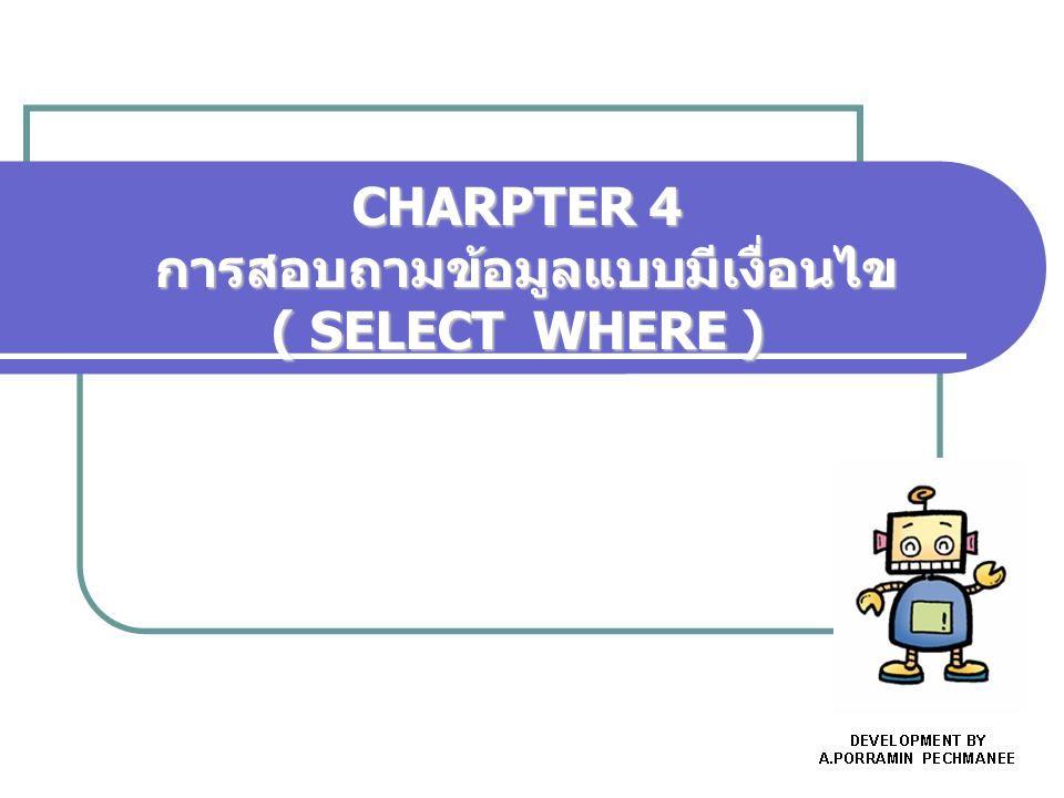 สาระการเรียนรู้ 1.การสอบถามข้อมูลด้วย SELECT แบบมี เงื่อนไข 2.