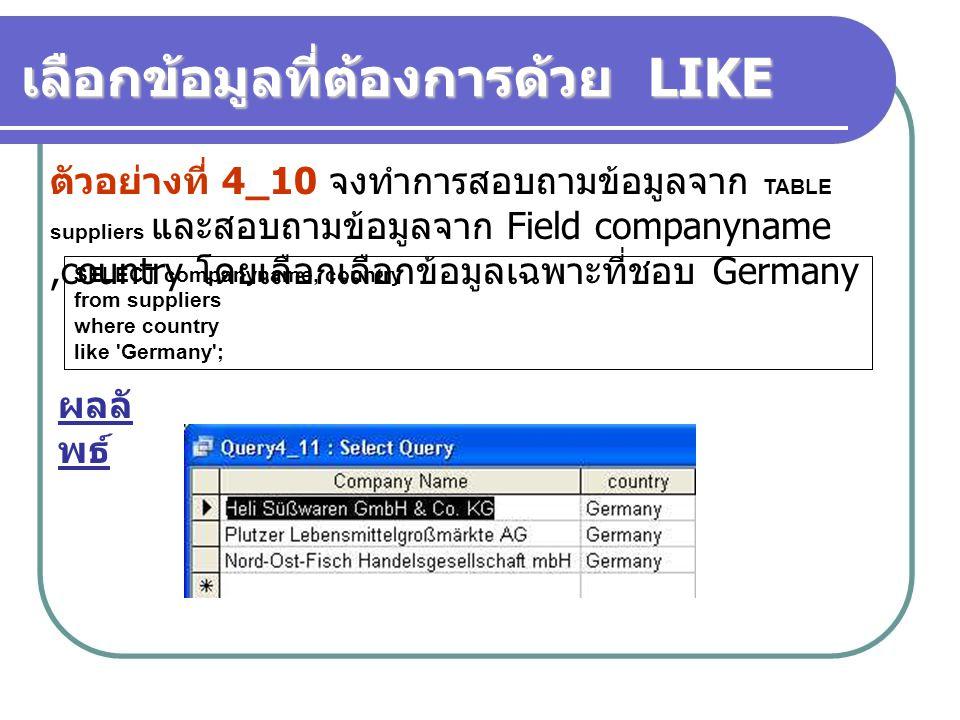 SELECT companyname, country from suppliers where country like 'Germany'; เลือกข้อมูลที่ต้องการด้วย LIKE ตัวอย่างที่ 4_10 จงทำการสอบถามข้อมูลจาก TABLE