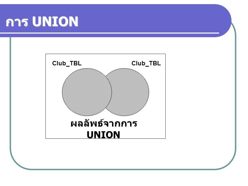 การ UNION ผลลัพธ์จากการ UNION Club_TBL