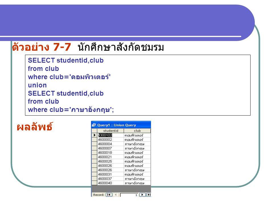 ตัวอย่าง 7-7 นักศึกษาสังกัดชมรม SELECT studentid,club from club where club=' คอมพิวเตอร์ ' union SELECT studentid,club from club where club=' ภาษาอังก