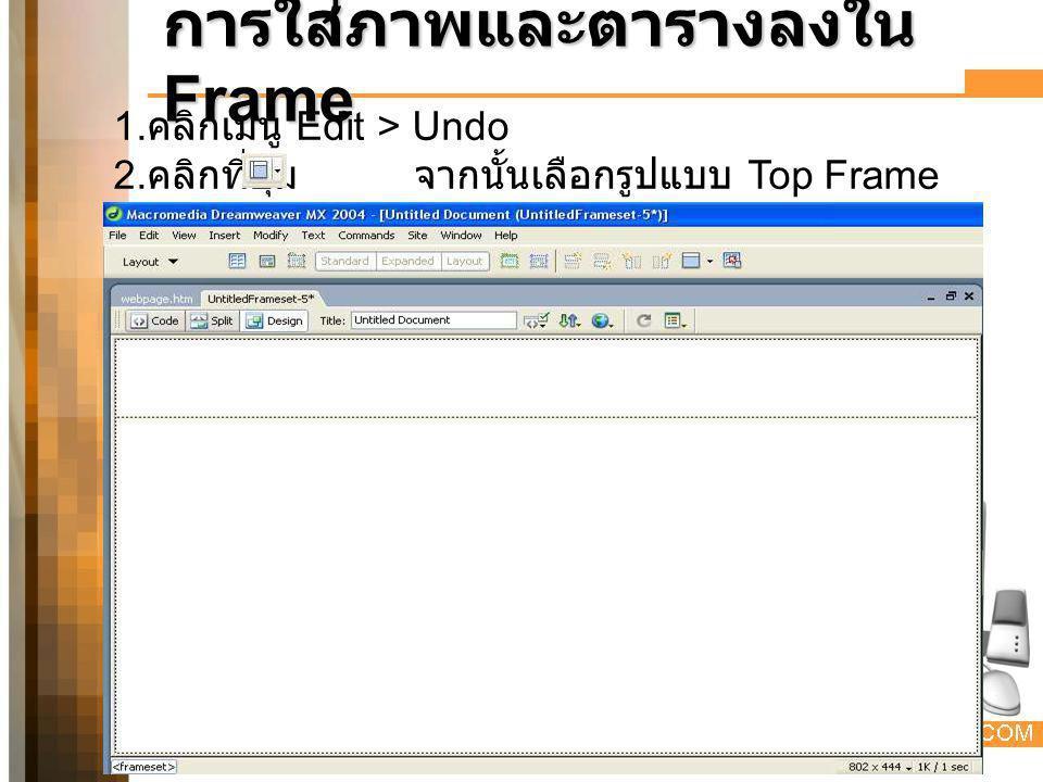 การใส่ภาพและตารางลงใน Frame 1. คลิกเมนู Edit > Undo 2. คลิกที่ปุ่ม จากนั้นเลือกรูปแบบ Top Frame 1 2