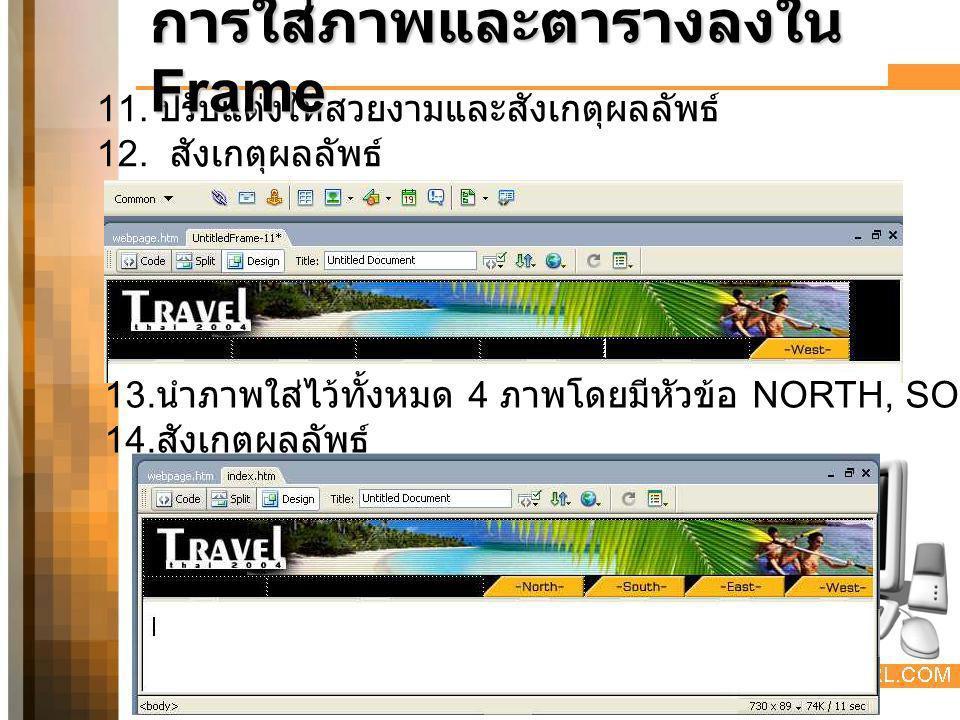 การบันทึกเฟรม 1.คลิกเมนู File > Save All 2.
