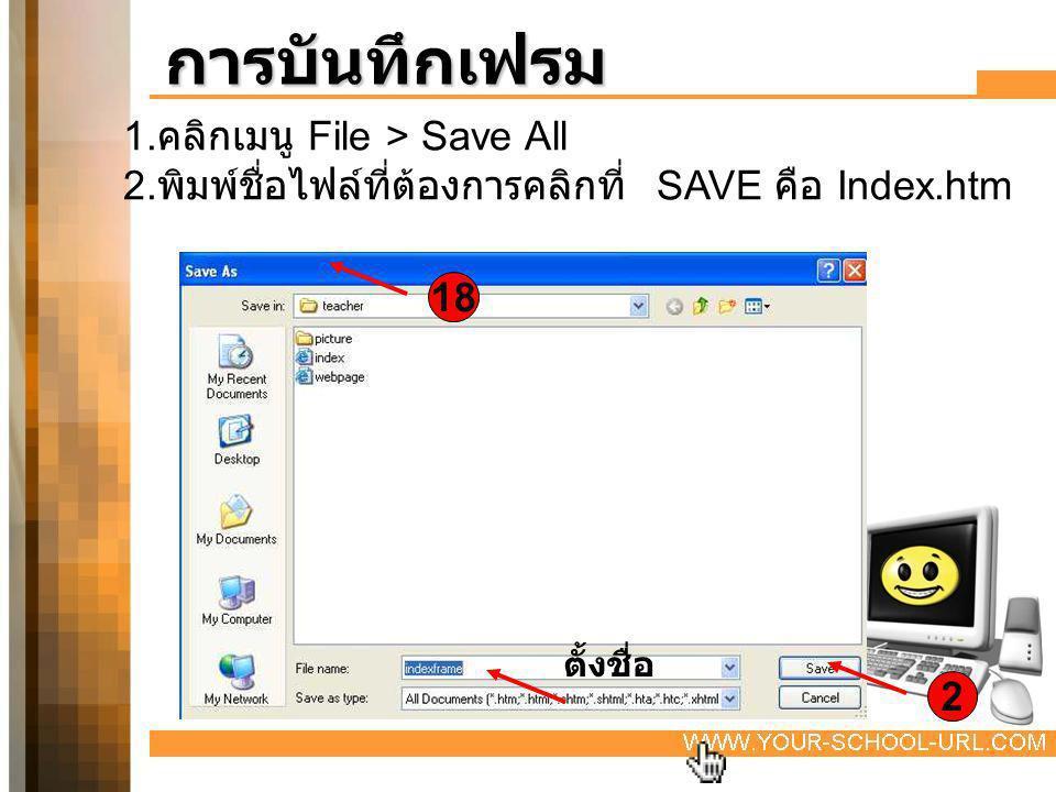 การบันทึกเฟรม 1. คลิกเมนู File > Save All 2. พิมพ์ชื่อไฟล์ที่ต้องการคลิกที่ SAVE คือ Index.htm 18 2 ตั้งชื่อ
