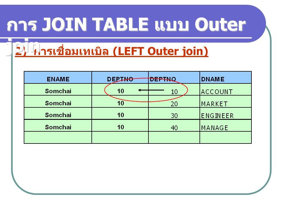 2) การเชื่อมเทเบิล (LEFT Outer join) การ JOIN TABLE แบบ Outer join