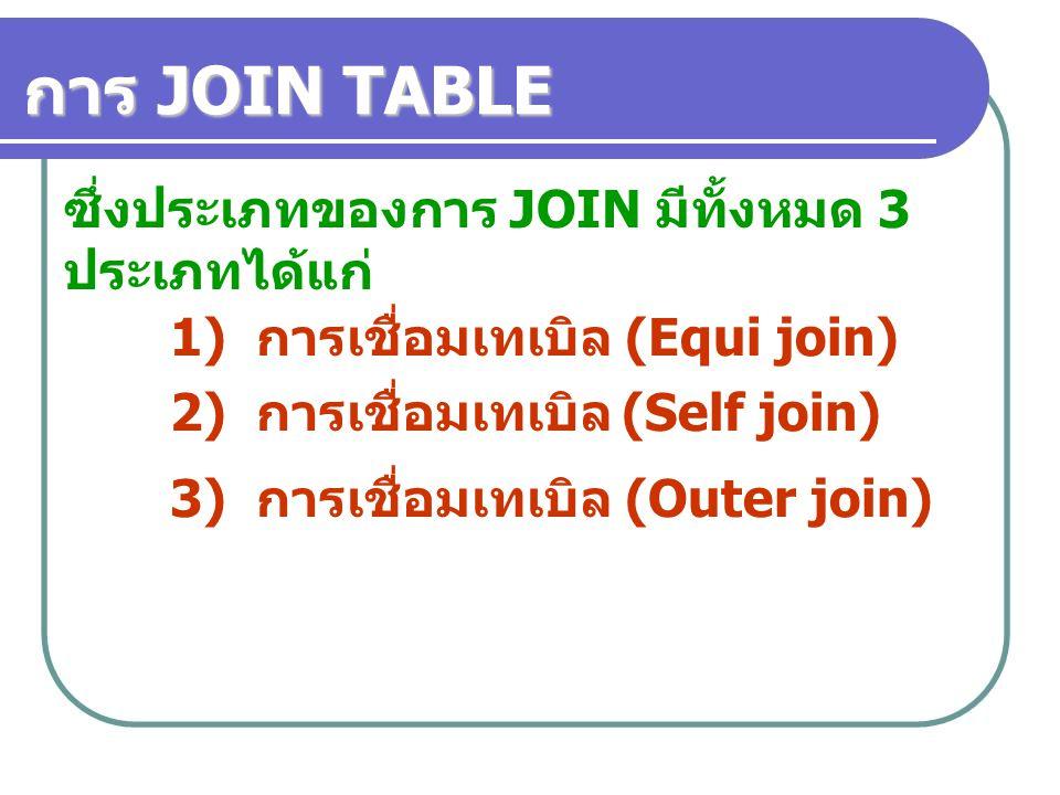 ซึ่งประเภทของการ JOIN มีทั้งหมด 3 ประเภทได้แก่ 1) การเชื่อมเทเบิล (Equi join) 2) การเชื่อมเทเบิล (Self join) 3) การเชื่อมเทเบิล (Outer join) การ JOIN