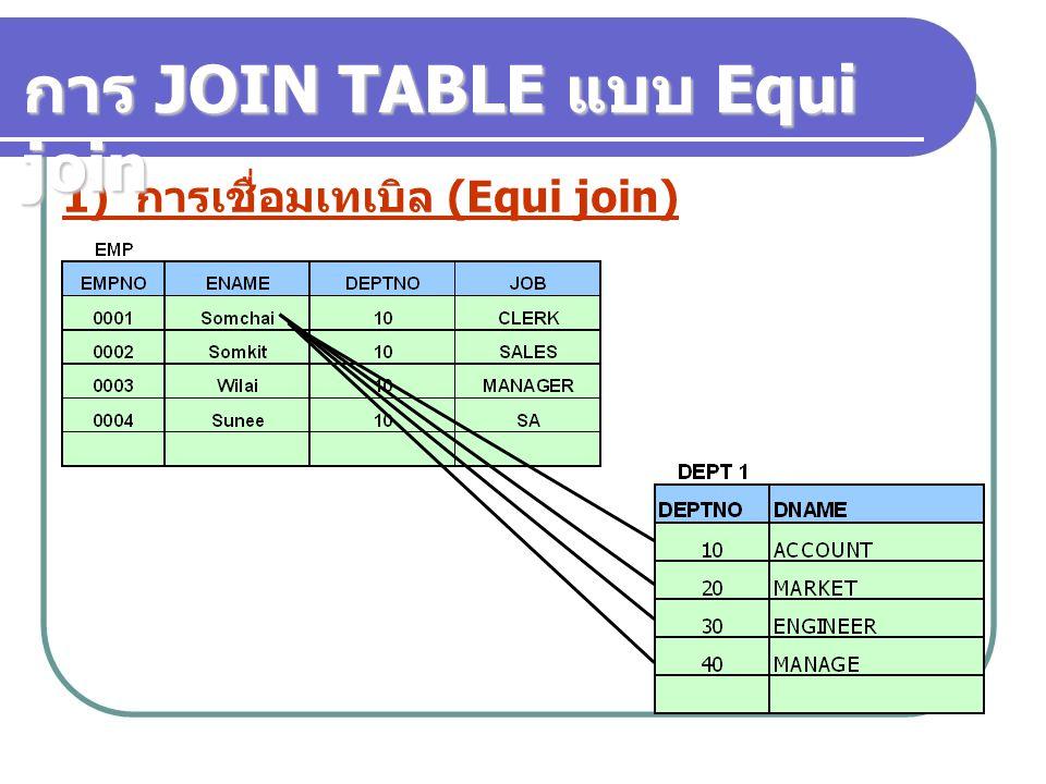 1) การเชื่อมเทเบิล (Equi join) การ JOIN TABLE แบบ Equi join