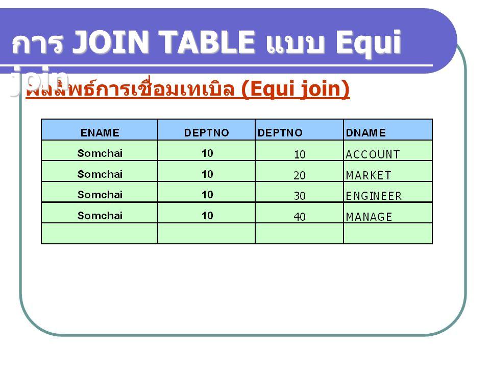 ผลลัพธ์การเชื่อมเทเบิล (Equi join) การ JOIN TABLE แบบ Equi join