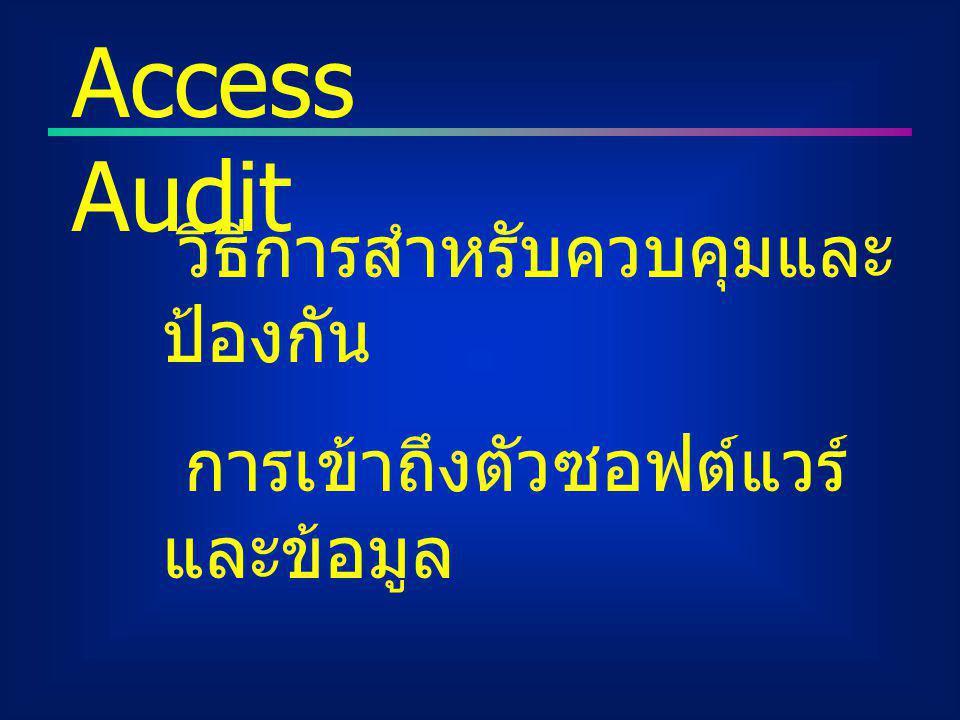 วิธีการสำหรับควบคุมและ ป้องกัน การเข้าถึงตัวซอฟต์แวร์ และข้อมูล Access Audit