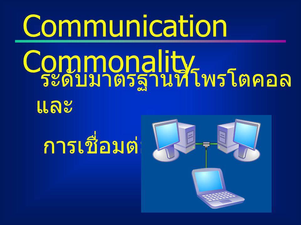 ระดับมาตรฐานที่โพรโตคอล และ การเชื่อมต่อใช้ Communication Commonality