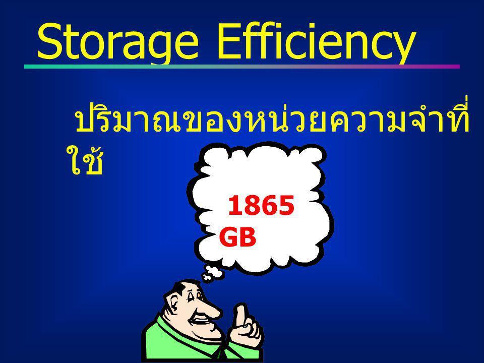 ปริมาณของหน่วยความจำที่ ใช้ Storage Efficiency 1865 GB