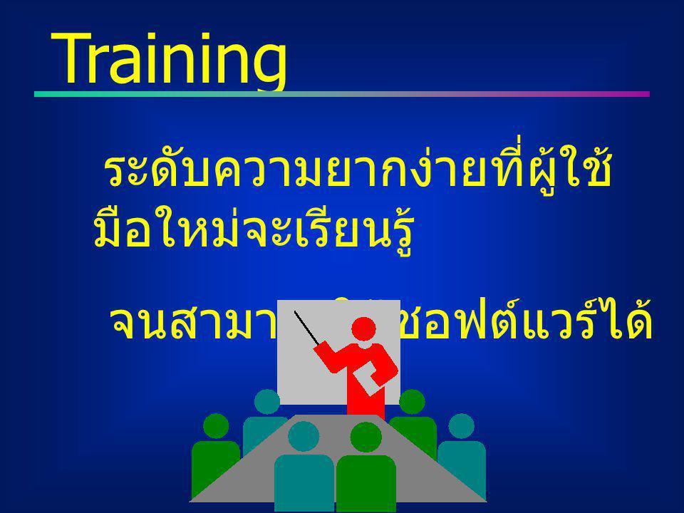 ระดับความยากง่ายที่ผู้ใช้ มือใหม่จะเรียนรู้ จนสามารถใช้ซอฟต์แวร์ได้ Training