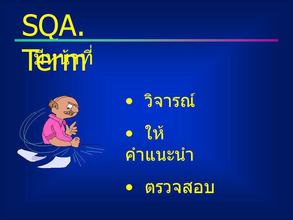 วิจารณ์ ให้ คำแนะนำ ตรวจสอบ SQA. Term มีหน้าที่