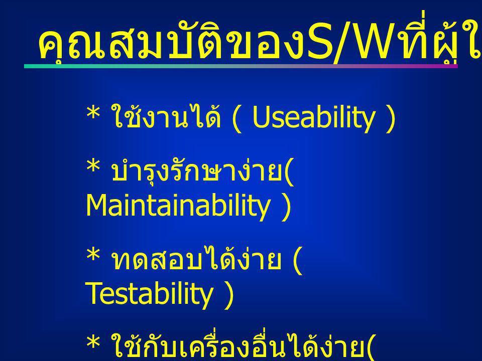 คุณสมบัติของ S/W ที่ผู้ใช้ต้องการ * ใช้งานได้ ( Useability ) * บำรุงรักษาง่าย ( Maintainability ) * ทดสอบได้ง่าย ( Testability ) * ใช้กับเครื่องอื่นได้ง่าย ( Portability )