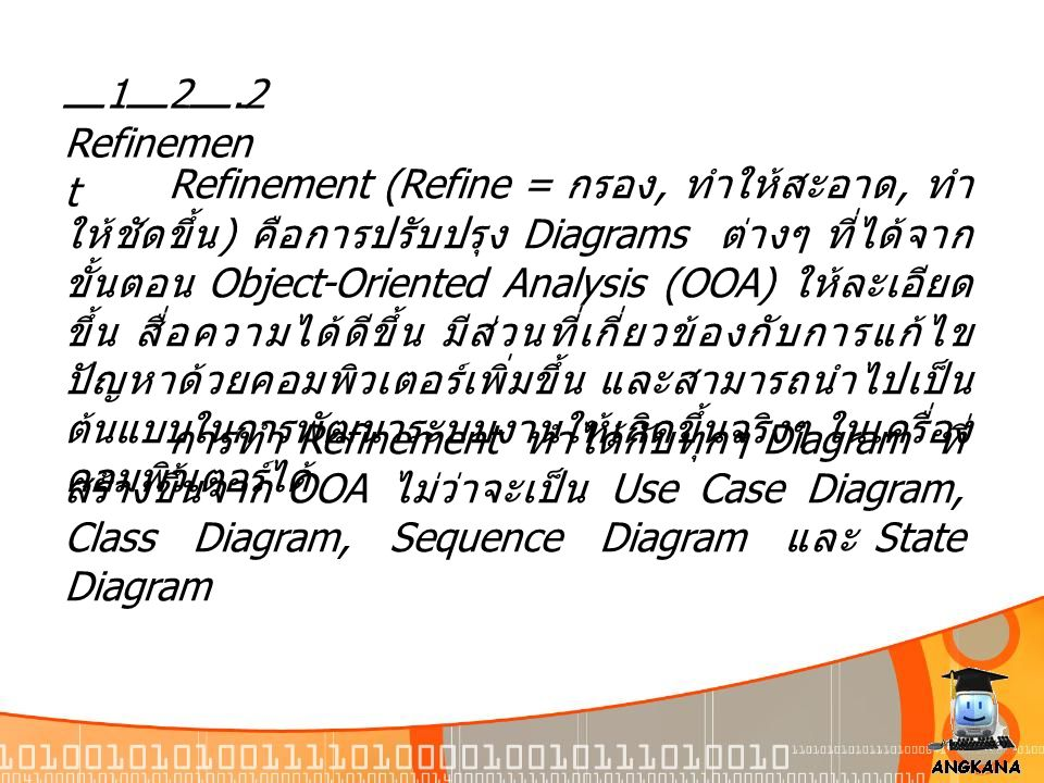 12.2 Refinemen t Refinement (Refine = กรอง, ทำให้สะอาด, ทำ ให้ชัดขึ้น ) คือการปรับปรุง Diagrams ต่างๆ ที่ได้จาก ขั้นตอน Object-Oriented Analysis (OOA)