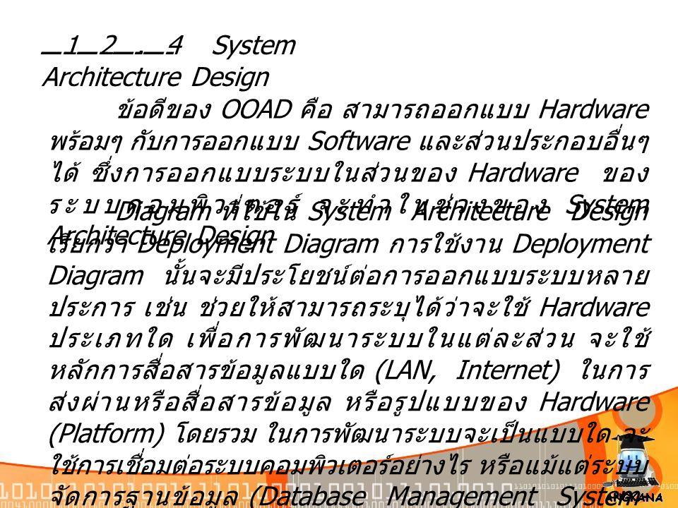 12.4 System Architecture Design ข้อดีของ OOAD คือ สามารถออกแบบ Hardware พร้อมๆ กับการออกแบบ Software และส่วนประกอบอื่นๆ ได้ ซึ่งการออกแบบระบบในส่วนของ