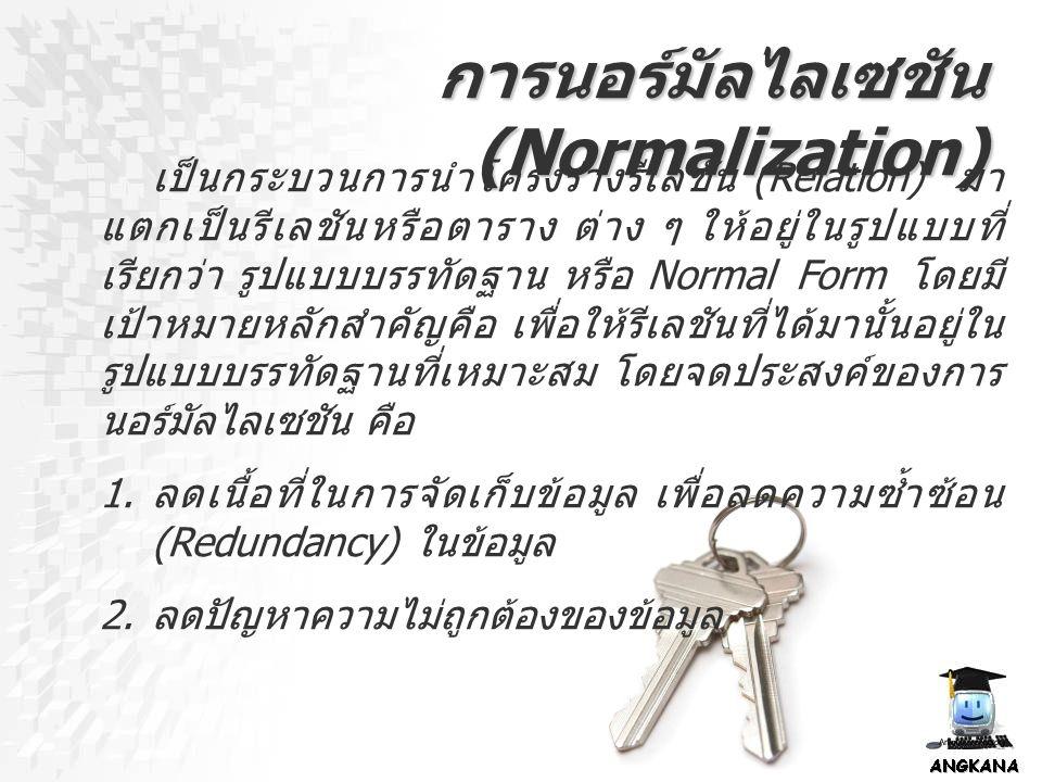 การนอร์มัลไลเซชัน (Normalization) เป็นกระบวนการนำโครงร่างรีเลชัน (Relation) มา แตกเป็นรีเลชันหรือตาราง ต่าง ๆ ให้อยู่ในรูปแบบที่ เรียกว่า รูปแบบบรรทัด