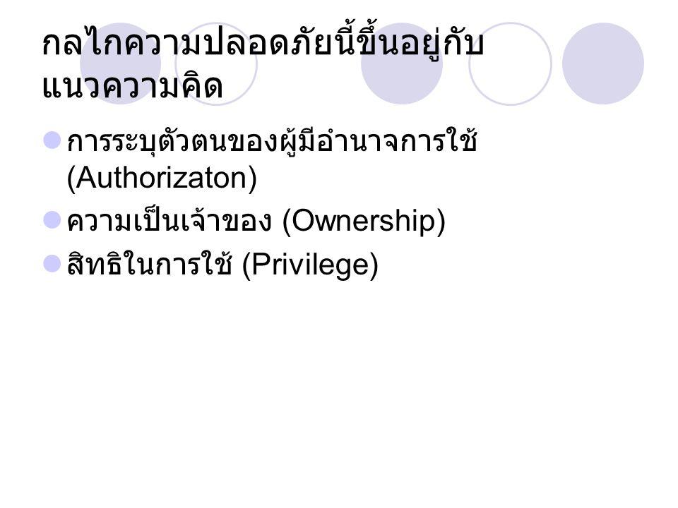 กลไกความปลอดภัยนี้ขึ้นอยู่กับ แนวความคิด การระบุตัวตนของผู้มีอำนาจการใช้ (Authorizaton) ความเป็นเจ้าของ (Ownership) สิทธิในการใช้ (Privilege)