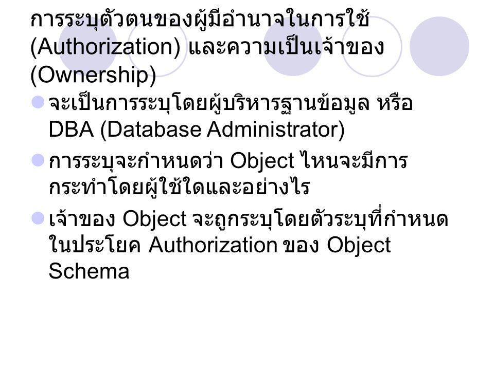 การระบุตัวตนของผู้มีอำนาจในการใช้ (Authorization) และความเป็นเจ้าของ (Ownership) จะเป็นการระบุโดยผู้บริหารฐานข้อมูล หรือ DBA (Database Administrator) การระบุจะกำหนดว่า Object ไหนจะมีการ กระทำโดยผู้ใช้ใดและอย่างไร เจ้าของ Object จะถูกระบุโดยตัวระบุที่กำหนด ในประโยค Authorization ของ Object Schema
