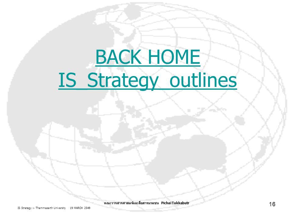 IS Strategy :- Thammasarth University 19 MARCH 2549 คณะวารสารศาสตร์และสื่อสารมวลชน Pichai Takkabutr 16 BACK HOME IS_Strategy_outlines