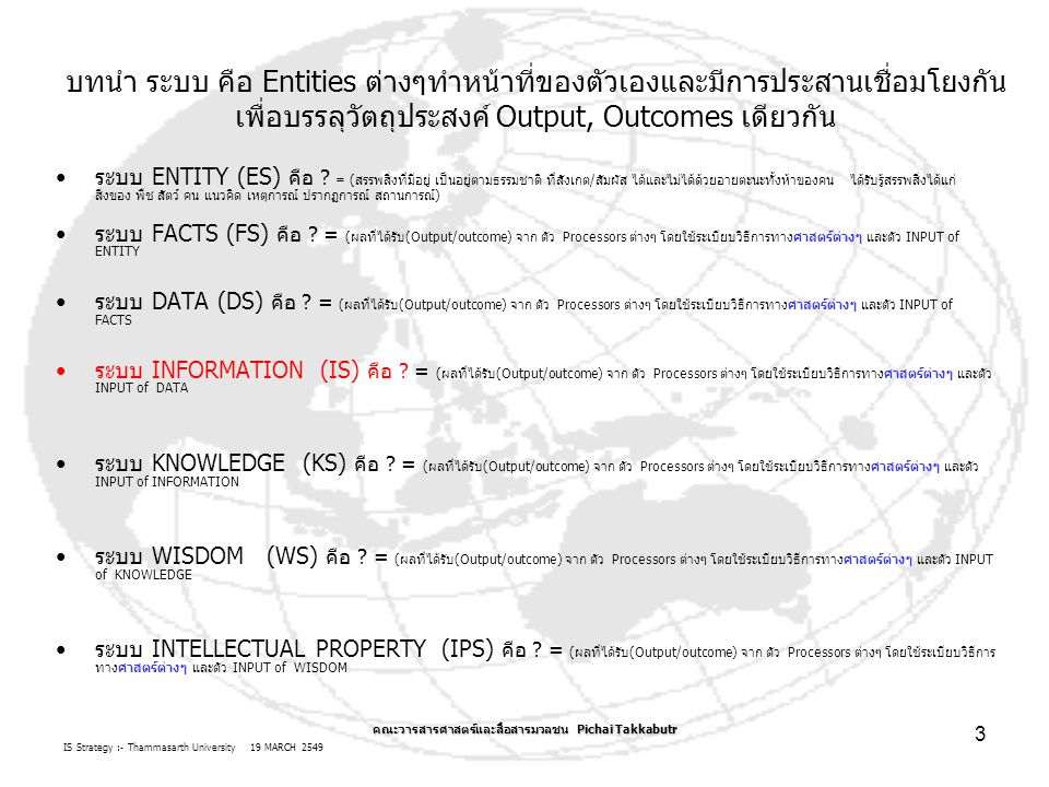 IS Strategy :- Thammasarth University 19 MARCH 2549 คณะวารสารศาสตร์และสื่อสารมวลชน Pichai Takkabutr 14 ขั้นตอน TASK เพิ่มมูลค่าเพิ่มของสารสนเทศ (Information Value CHAIN) ต่อ การจัดการ/ ปฏิบัติ: การทำงาน นำแผนไป จัดการ และจัดทำ ยุทธวิธี และ ปฏิบัติการ เวลาที่ใช้ในเรื่องการจัดการอะไร ขอบเขตการจัดการ=ทรัพยากร + เวลา การตัดสินใจ: การคิด จัดการ วางแผน และจัดทำ ยุทธศาสตร์ การตัดสินใจ: การแก้ไข ปัญหา ติดตาม ประเมิผผลการ จัดการ ปัจจัย ทรัพยากร คน ซอฟต์แวร์/ วิทยาการ ฮาร์ดแวร์/ วัสดุครุภัณฑ์ ข้อมูล ระเบียบ วิธีการ งบประมาณ /ทุน TASK1TASK2 TASK3