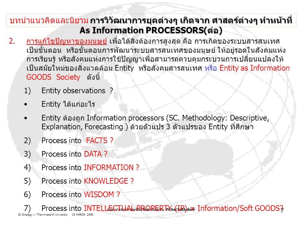 IS Strategy :- Thammasarth University 19 MARCH 2549 คณะวารสารศาสตร์และสื่อสารมวลชน Pichai Takkabutr 7 2.การแก้ไขปัญหาของมนุษย์ เพื่อได้สิ่งต้องการสูงสุด คือ การเกิดของระบบสารสนเทศ เป็นขั้นตอน หรือขั้นตอนการพัฒนาระบบสารสนเทศของมนุษย์ ให้อยู่รอดในสังคมแห่ง การเรียนรู้ หรือสังคมแห่งการใช้ปัญญาเพื่อสามารถควบคุมกระบวนการเปลี่ยนแปลงให้ เป็นสมัยใหม่ของสิ่งแวดล้อม Entity หรือสังคมสารสนเทศ หรือ Entity as Information GOODS Society ดังนี้ 1)Entity observations .