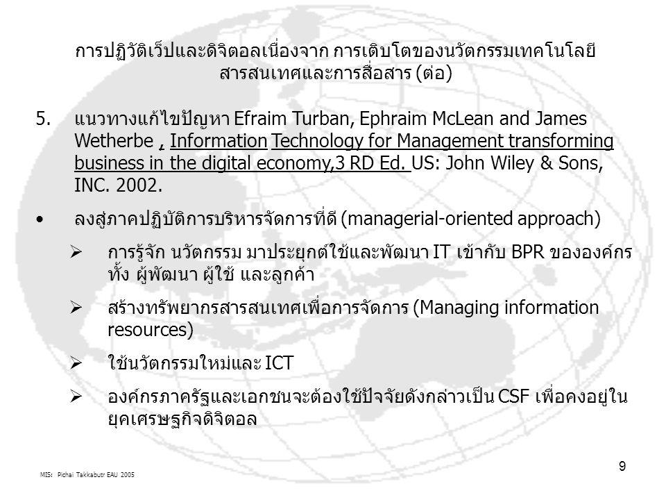MIS: Pichai Takkabutr EAU 2005 10 การปฏิวัติเว็ปและดิจิตอลเนื่องจาก การเติบโตของนวัตกรรมเทคโนโลยี สารสนเทศและการสื่อสาร (ต่อ)  แนวทางแก้ไขปัญหานี้ ไม่เน้นการใช้เทคโนโลยีประยุกต์ใช้และพัฒนา เข้าสู่ระบบอำนาจหน้าที่เดิมขององค์กร Application เหมือนตำรา IS อื่นๆ แต่จะทำให้องค์กร Business Process Reengineering (BPR) ที่ แข่งขันใหม่ โดยแปลงรูปบทบาทอำนาจหน้าที่เดิมของตัวเองเข้าสู่ การ รู้จักใช้นวัตกรรม สังคมวัฒนธรรมองค์กร (Innovative) เพื่อใช้ IT  การใช้ ICT Code of Conduct/ Ethics เพื่อความตกลงวัฒนธรรม องค์กรใหม่  การรู้จักใช้นวัตกรรมที่เปลี่ยนแปลงตลอดเวลาขององค์กรใน บทบาทของ Web, Internet, Intranets, Extranets และ eCom ซึ่งตัวนวัตกรรม Web จะเป็นแกนกลางในการเปลี่ยนแปลงรูปแบบ องค์กร(Transforming) ที่สามารถอำนวยความสะดวกในการพัฒนา ขีดความสามารถ ในการแข่งขันธุรกิจเช่น สถานการณ์ที่ต้องเผชิญ eCOM ยุคที่สองคือ m-Commerce, c-Commerce, e- Government รวมทั้งการบูณราการนวัตกรรม ERP, CRM, KM, e- Commerce