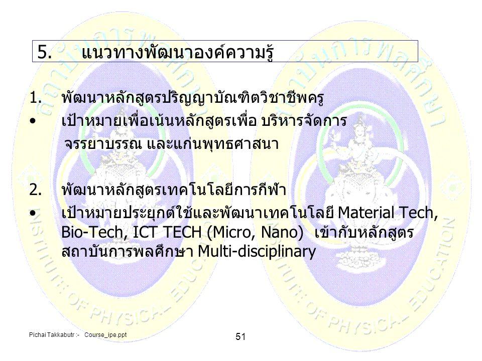 Pichai Takkabutr :- Course_ipe.ppt 51 5.แนวทางพัฒนาองค์ความรู้ 1.พัฒนาหลักสูตรปริญญาบัณฑิตวิชาชีพครู เป้าหมายเพื่อเน้นหลักสูตรเพื่อ บริหารจัดการ จรรยา