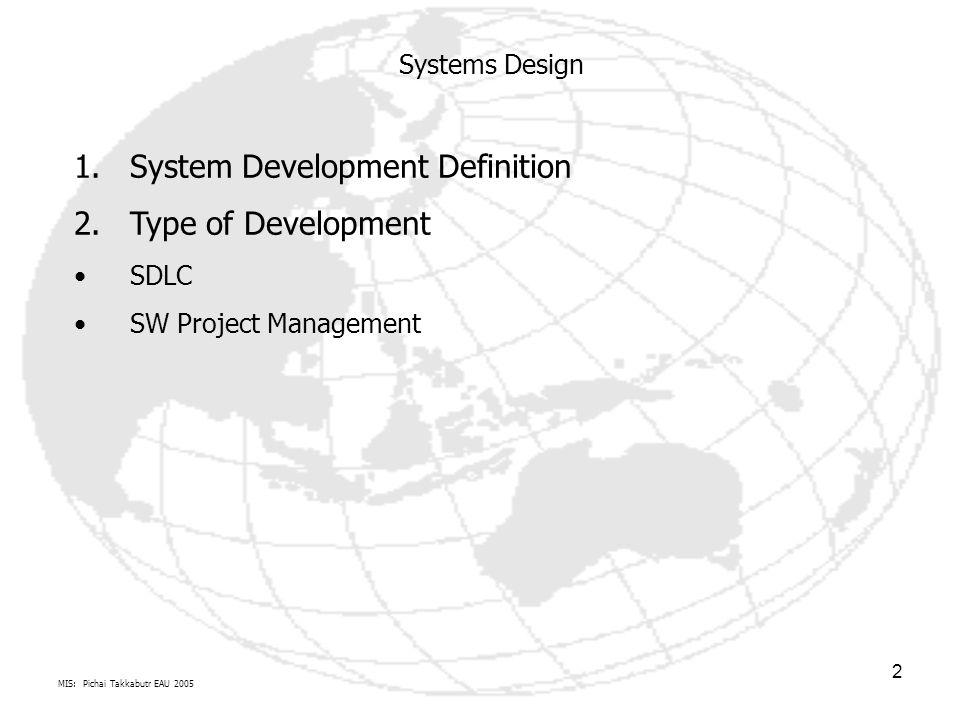 MIS: Pichai Takkabutr EAU 2005 2 Systems Design 1.System Development Definition 2.Type of Development SDLC SW Project Management