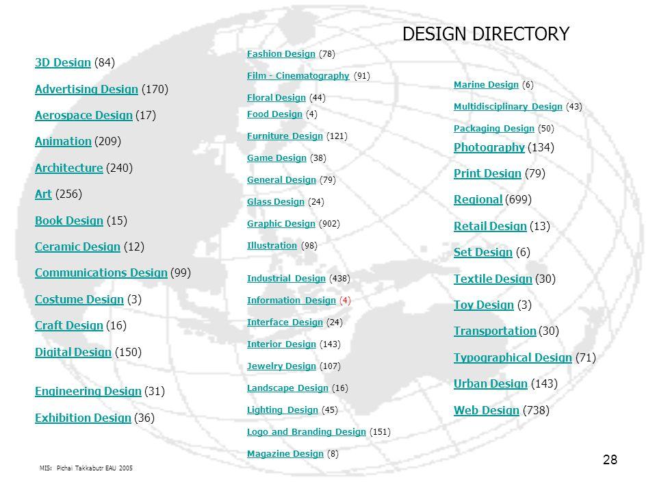 MIS: Pichai Takkabutr EAU 2005 28 3D Design (84) Advertising Design (170) Aerospace Design (17) Animation (209) Architecture (240) Art (256) Book Desi