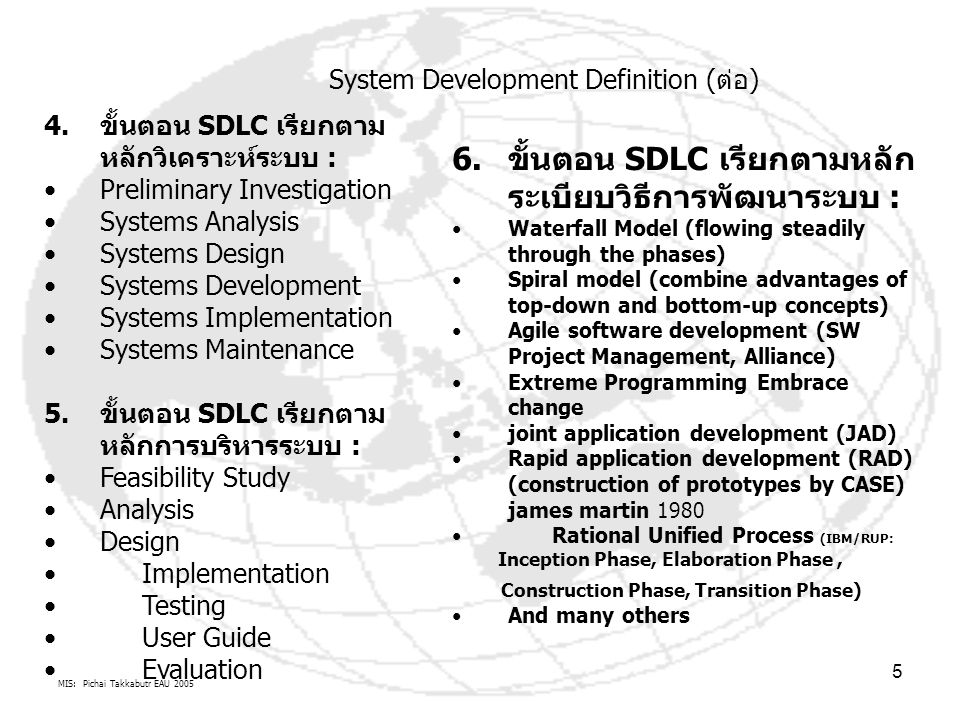 MIS: Pichai Takkabutr EAU 2005 5 4.ขั้นตอน SDLC เรียกตาม หลักวิเคราะห์ระบบ : Preliminary Investigation Systems Analysis Systems Design Systems Develop
