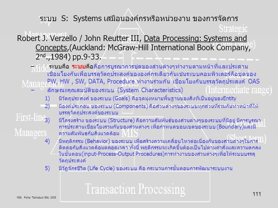MIS: Pichai Takkabutr EAU 2005 111 ระบบ S: Systems เสมือนองค์กรหรือหน่วยงาน ของการจัดการ Robert J. Verzello / John Reutter III, Data Processing: Syste