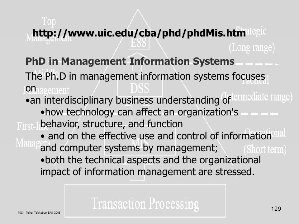 MIS: Pichai Takkabutr EAU 2005 129 PhD in Management Information Systems The Ph.D in management information systems focuses on an interdisciplinary bu