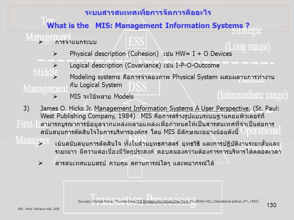 MIS: Pichai Takkabutr EAU 2005 130 ระบบสารสนเทศเพื่อการจัดการคืออะไร What is the MIS: Management Information Systems ?  การจำแนกระบบ  Physical descr