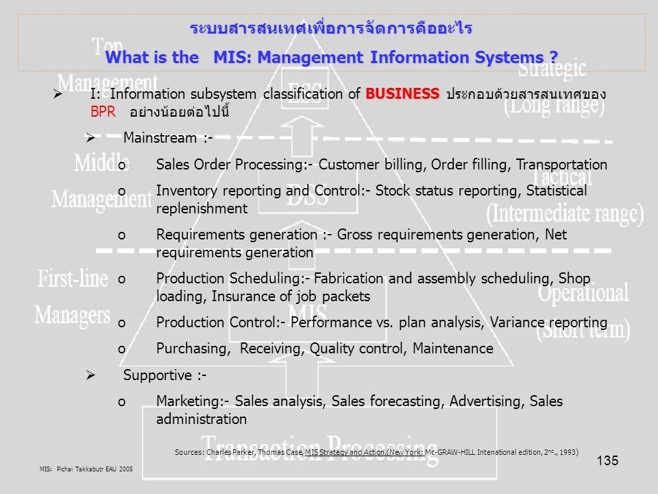 MIS: Pichai Takkabutr EAU 2005 135 ระบบสารสนเทศเพื่อการจัดการคืออะไร What is the MIS: Management Information Systems ? BUSINESS  I: Information subsy