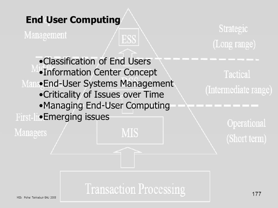 MIS: Pichai Takkabutr EAU 2005 177 Classification of End Users Information Center Concept End-User Systems Management Criticality of Issues over Time
