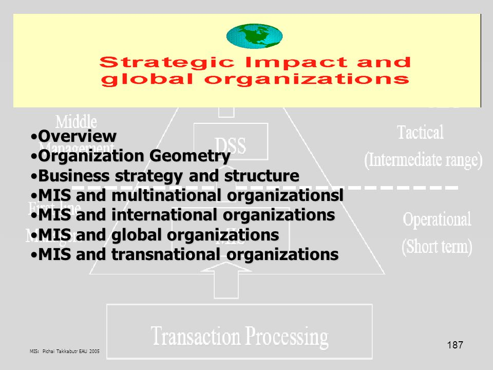 MIS: Pichai Takkabutr EAU 2005 187 OverviewOverview Organization GeometryOrganization Geometry Business strategy and structureBusiness strategy and structure MIS and multinational organizationslMIS and multinational organizationsl MIS and international organizationsMIS and international organizations MIS and global organizationsMIS and global organizations MIS and transnational organizationsMIS and transnational organizations