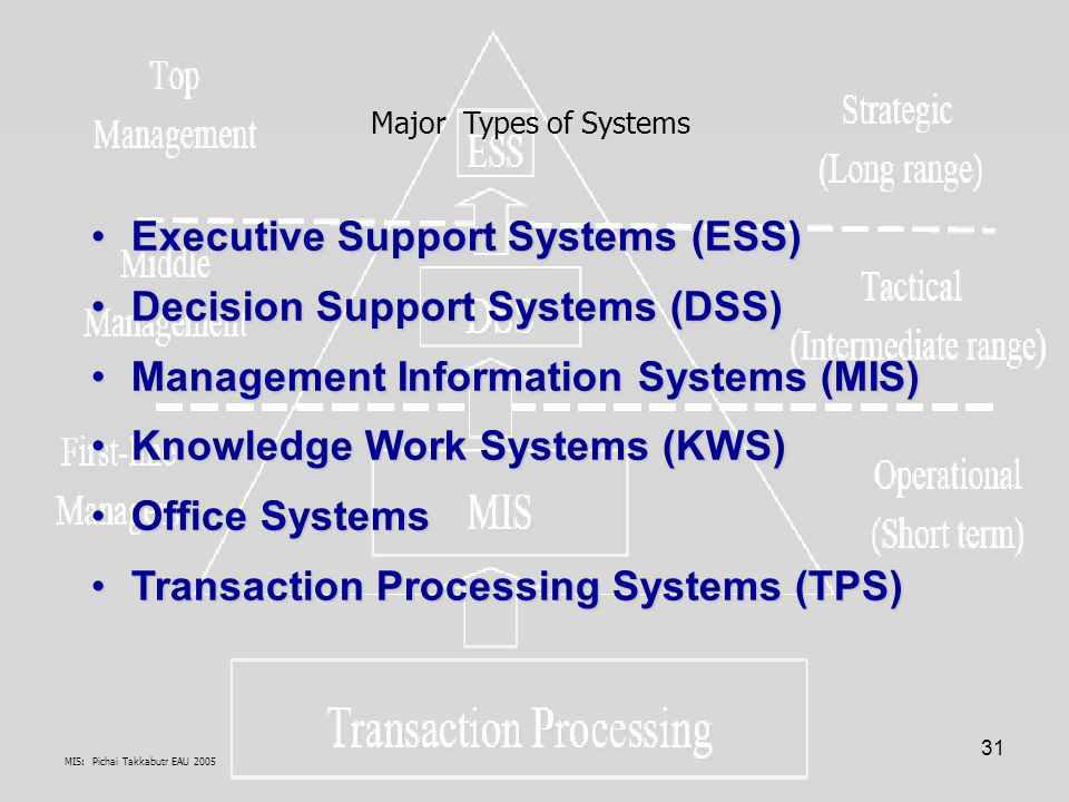 MIS: Pichai Takkabutr EAU 2005 31 Executive Support Systems (ESS)Executive Support Systems (ESS) Decision Support Systems (DSS)Decision Support System