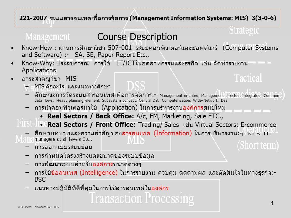MIS: Pichai Takkabutr EAU 2005 15 โอกาศการใช้ยุทธศาสตร์ ในการใช้บทบาทหรือการใช้ประโยชน์ สารสนเทศ 1.รูปแบบของการใช้โอกาศ การสร้างนวัตกรรมเทคโนโลยีเพื่อเป็นอาวุธ (Information weapon model: Technological Innovation): Innovation, Information, Productivity การให้บริการสารสนเทศ Information Services: eBusiness, eCommerce, Customer terminal, Super systems, Micro systems, New product, Extended product, Substituted product, Differentiate products ผลิตผลจากระบบสาสรสนเทศ Productivity-related systems 2.การประเมินโอกาศการใช้ยุทธศาสตร์ โดยใช้หลักการThe Value System การวิเคราะห์มูลค่าเพิ่ม (Value-chain Analysis) รูปแบบการสร้างพลังการแข่งขัน (The Competitive Force Model):- Upstream value chain, Firm value chain, Downstream value chain( Channel value chains, Buyer value chains)