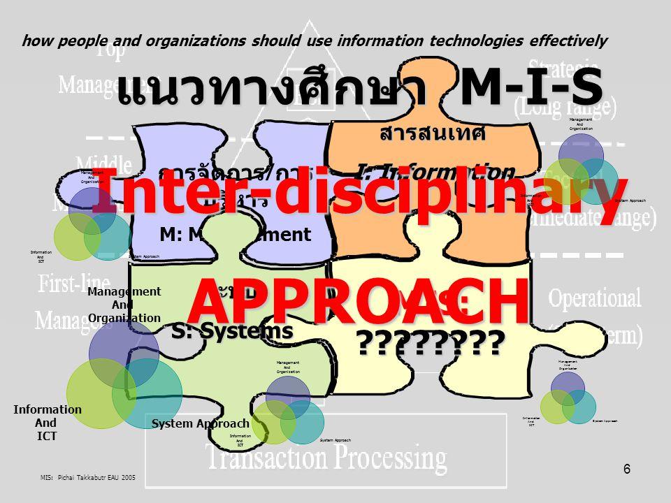 MIS: Pichai Takkabutr EAU 2005 77 M: สนใจสิ่งแรกคือ M: ความสัมพันธ์ในการบริหารจัดการ ทรัพยากรองค์กร กับ เวลา เวลาที่ใช้ในเรื่องการจัดการอะไร ขอบเขตการจัดการ=ทรัพยากร + เวลา การตัดสินใจ: การคิด จัดการ วางแผน และจัดทำ ยุทธศาสตร์ การจัดการ/ ปฏิบัติ: การทำงาน นำแผนไป จัดการ และจัดทำ ยุทธวิธี และ ปฏิบัติการ การตัดสินใจ: การแก้ไข ปัญหา ติดตาม ประเมิผผลการ จัดการ ปัจจัย ทรัพยากร คน ซอฟต์แวร์/ วิทยาการ ฮาร์ดแวร์/ วัสดุครุภัณฑ์ ข้อมูล ระเบียบ วิธีการ งบประมาณ /ทุน คนเป็นปัจจัย ที่มีบทบาท เป็นแกนกลางการจัดการ จัดสรรปัจจัยทรัพยากรขององค์กร อย่างน้อยดังนี้ 1.คนทำหน้าที่จัดการซอฟต์แวร์ในองค์กร มีบทบาทเป็น System engineering, System Programmer, Programmer, Administrator/ DC Administrator 2.คนทำหน้าที่จัดการฮาร์ดแวร์ในองค์กร มีบทบาทเป็น System operator, Operator, Data Entry Operator, Network worker 3.คนทำหน้าที่จัดการข้อมูลในองค์กร มีบทบาทเป็น System Analysis and Design, DB Administrator 4.คนทำหน้าที่จัดการระเบียบวิธีการ และเวลาที่ใช้ในการจัดการปัจจัยทรัพยากรในองค์กร มีบทบาทเป็น Project Manager (PM) หรือ CIO 5.คนทำหน้าที่จัดการงบประมาณ / ทุน ที่ใช้ในองค์กร มีบทบาทเป็น CFO